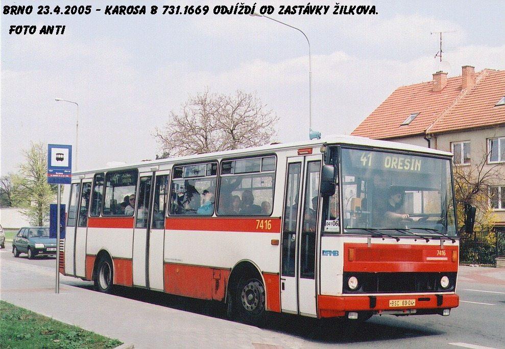 Fotogalerie » Karosa B731.1669 7416   Brno   Řečkovice   Žilkova   Žilkova