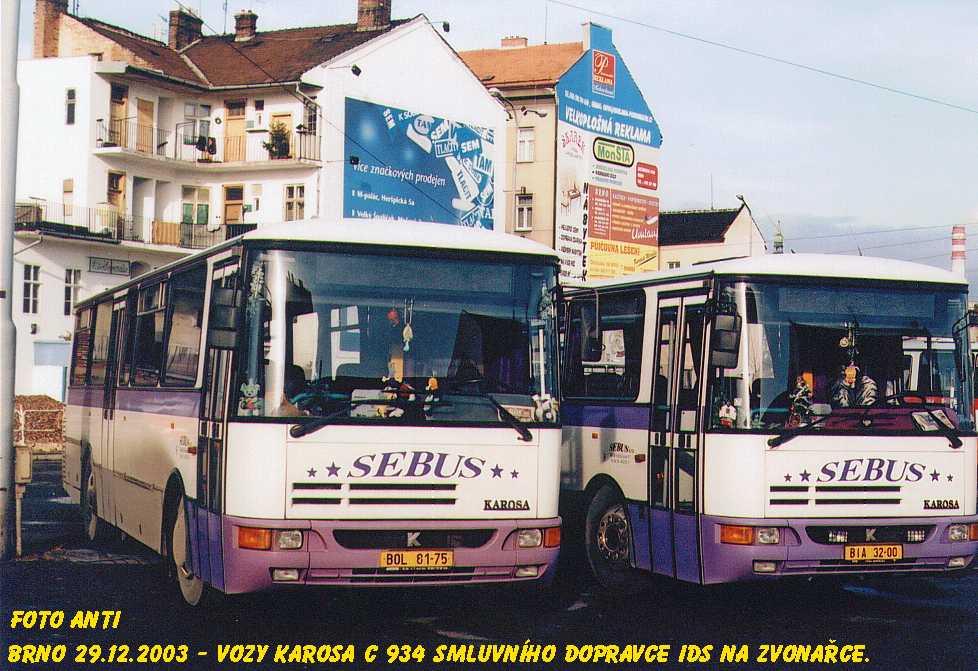 Fotogalerie » Karosa C934E.1351 BOL 81-75 | Karosa C934E.1351 BIA 32-00 | Brno | Trnitá | Zvonařka, smyčka