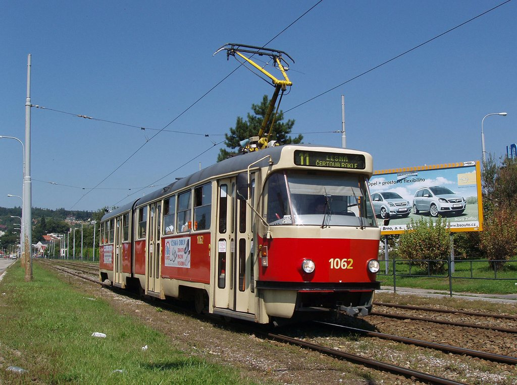 Fotogalerie » ČKD Tatra K2P 1062   Brno   Komín   Kníničská