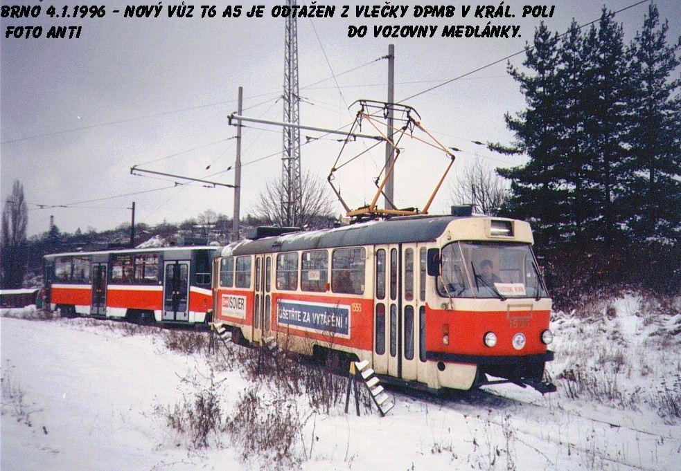 Fotogalerie » ČKD Tatra T3M 1555   ČKD DS T6A5   Brno   Královo Pole   Vlečka DP v Králově Poli