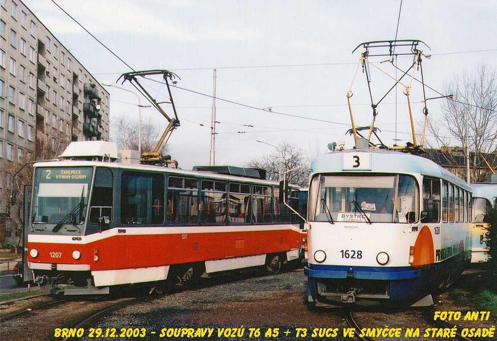 Fotogalerie » ČKD DS T6A5 1207 | ČKD Tatra T3SUCS 1628 | Brno | Židenice | Stará Osada
