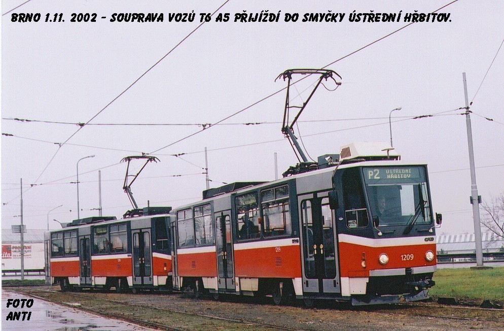 Fotogalerie » ČKD DS T6A5 1209 | ČKD DS T6A5 1210 | Brno | Štýřice | Vídeňská | Ústřední hřbitov