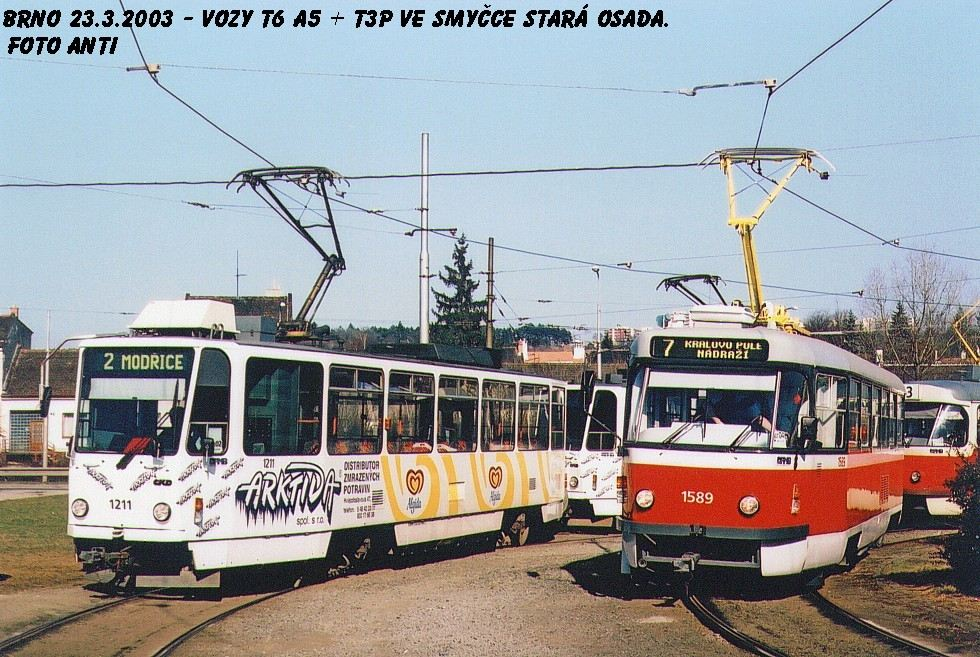 Fotogalerie » ČKD DS T6A5 1211 | ČKD Tatra T3P 1589 | Brno | Židenice | Stará Osada