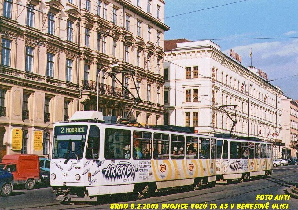 Fotogalerie » ČKD DS T6A5 1211 | ČKD DS T6A5 1212 | Brno | střed | Benešova