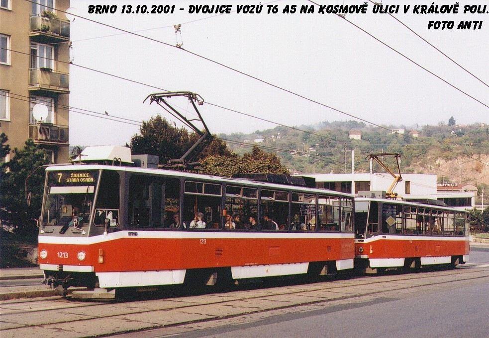 Fotogalerie » ČKD DS T6A5 1213 | ČKD DS T6A5 1214 | Brno | Královo Pole | Kosmova | Semilasso