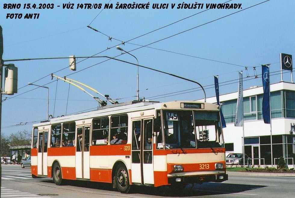 Fotogalerie » Škoda 14Tr08/6 3213 | Brno | Vinohrady | Žarošická