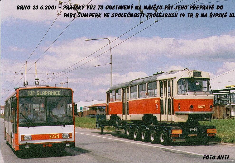 Fotogalerie » Škoda 14TrR 3234 | ČKD Tatra T3 6678 | Brno | Slatina | Řípská