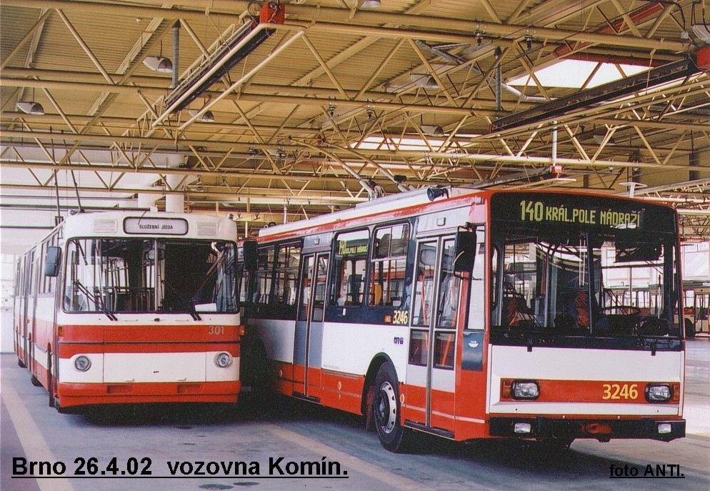 Fotogalerie » Škoda 14TrR 3246 | Škoda Škoda Sanos 200Tr 301 | Brno | Komín | vozovna Komín