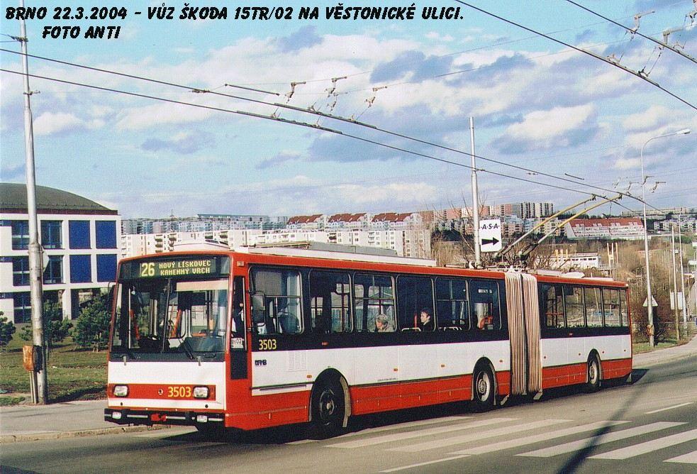 Fotogalerie » Škoda 15TrM 3503 | Brno | Vinohrady | Věstonická