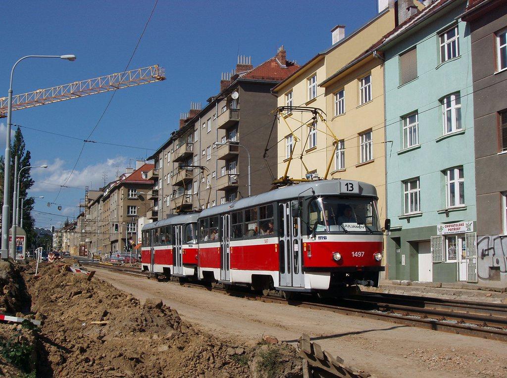 Fotogalerie » ČKD Tatra T3 1497   ČKD Tatra T3 1511   Brno   Královo Pole   Purkyňova