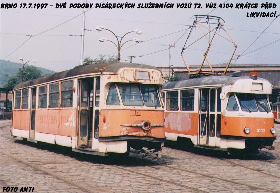 Fotogalerie » Tatra T2 služební 4105 | Tatra T2 služební 4122 | Brno | Pisárky | Vozovna Pisárky