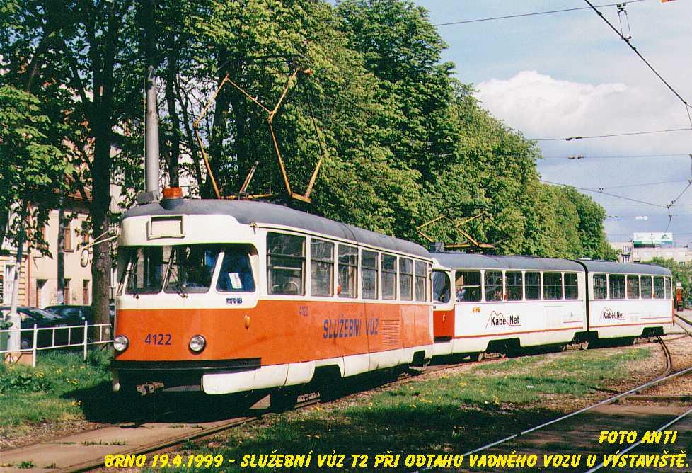 Fotogalerie » Tatra T2 služební 4122 | ČKD Tatra K2YU 1121 | Brno | Pisárky | Výstaviště