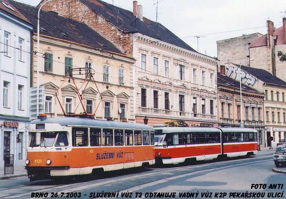 Fotogalerie » Tatra T2 služební 4121 | ČKD Tatra K2P 1080 | Brno | Staré Brno | Pekařská