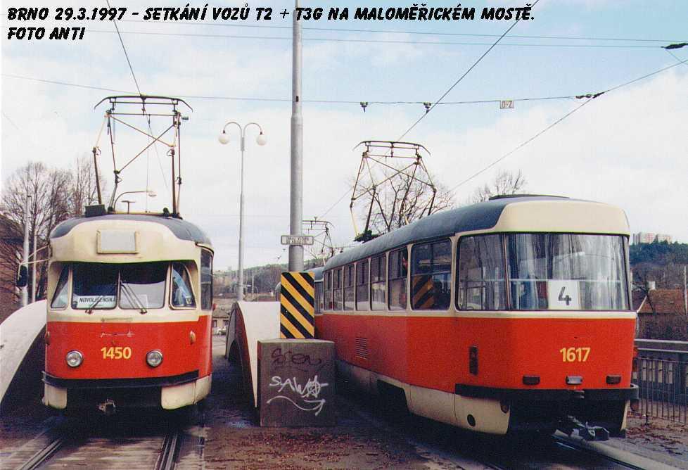 Fotogalerie » Tatra T2R 1450 | ČKD Tatra T3SUCS 1617 | Brno | Husovice | Valchařská