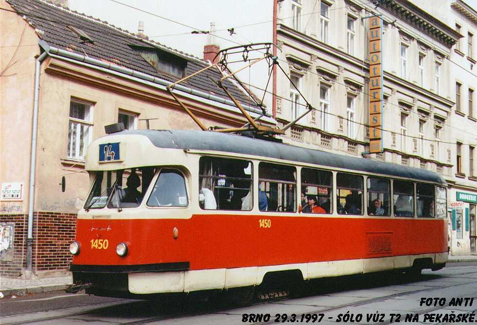 Fotogalerie » Tatra T2R 1450 | Brno | Staré Brno | Pekařská