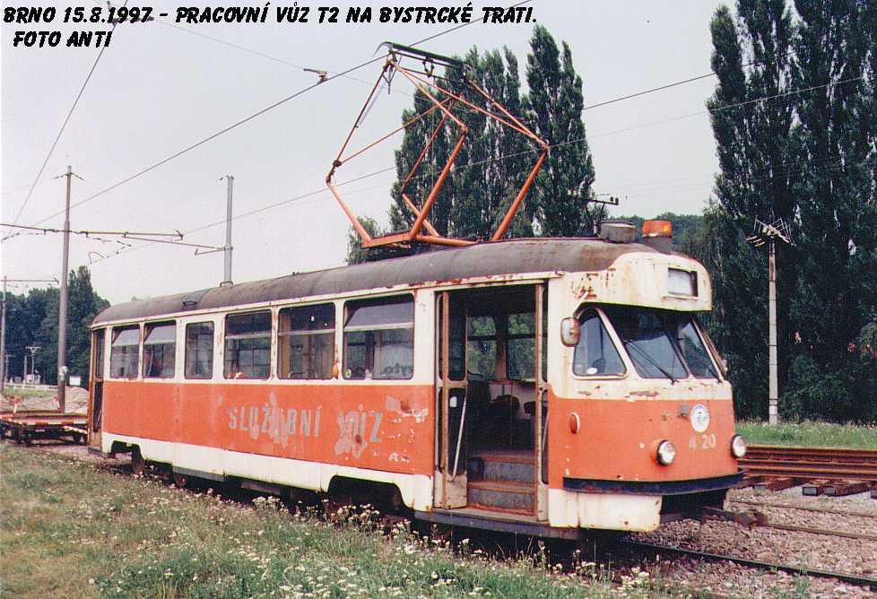 Fotogalerie » Tatra T2 služební 4120   Brno   Komín   Kníničská