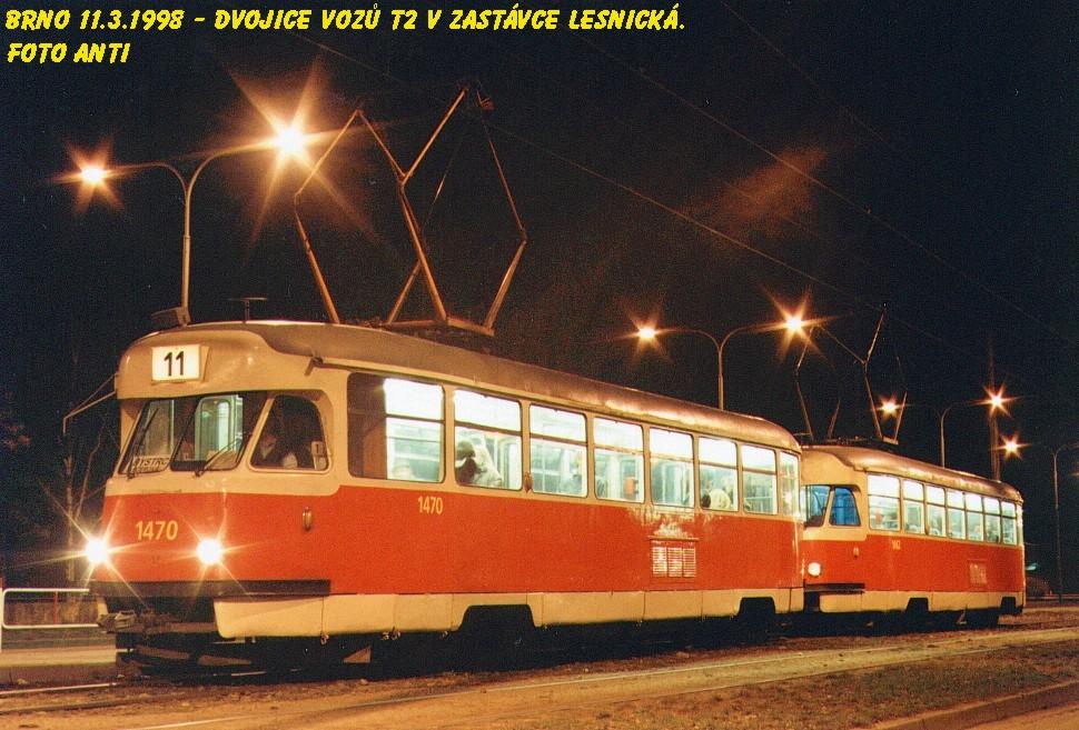 Fotogalerie » Tatra T2R 1470 | Tatra T2R 1462 | Brno | Černá Pole | Lesnická