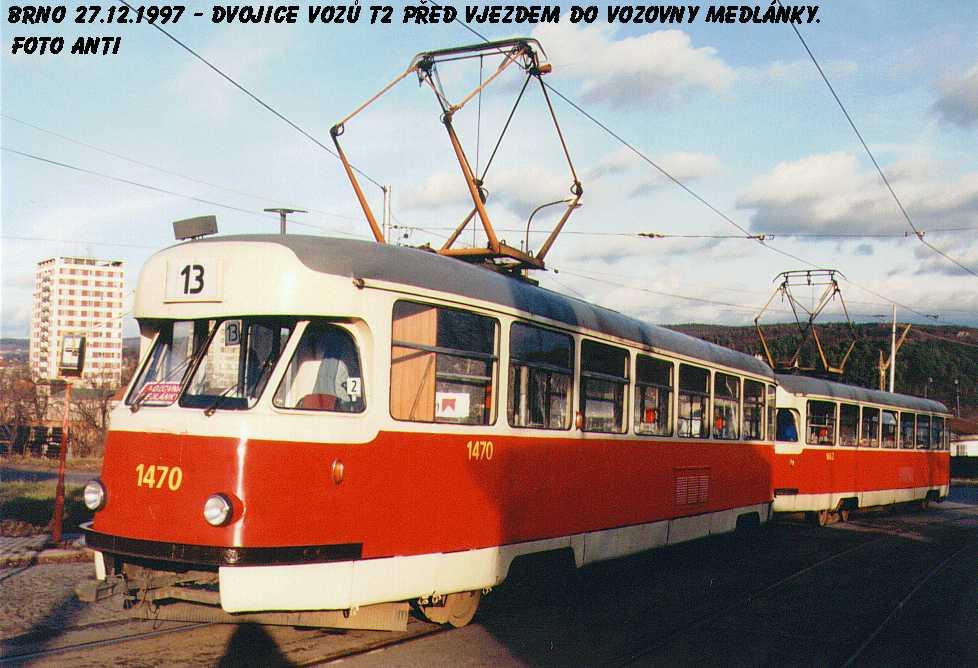 Fotogalerie » Tatra T2R 1470 | Tatra T2R 1462 | Brno | Medlánky | Hudcova | Vozovna Medlánky