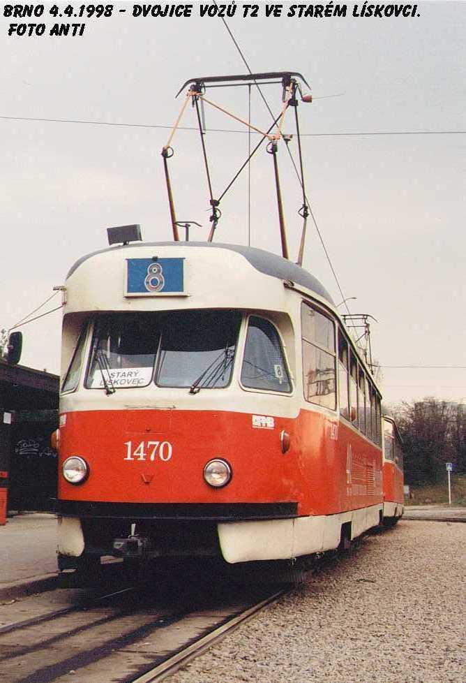 Fotogalerie » Tatra T2R 1470 | Tatra T2R 1462 | Brno | Starý Lískovec | Starý Lískovec