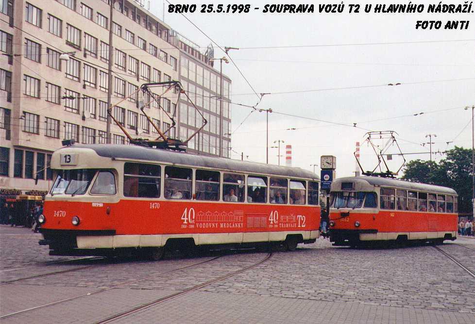 Fotogalerie » Tatra T2R 1470 | Tatra T2R 1462 | Brno | střed | Nádražní
