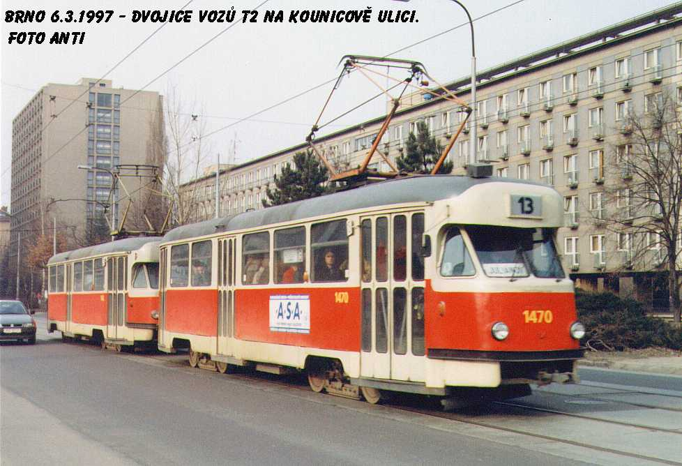 Fotogalerie » Tatra T2R 1470 | Tatra T2R 1462 | Brno | Královo Pole | Kounicova