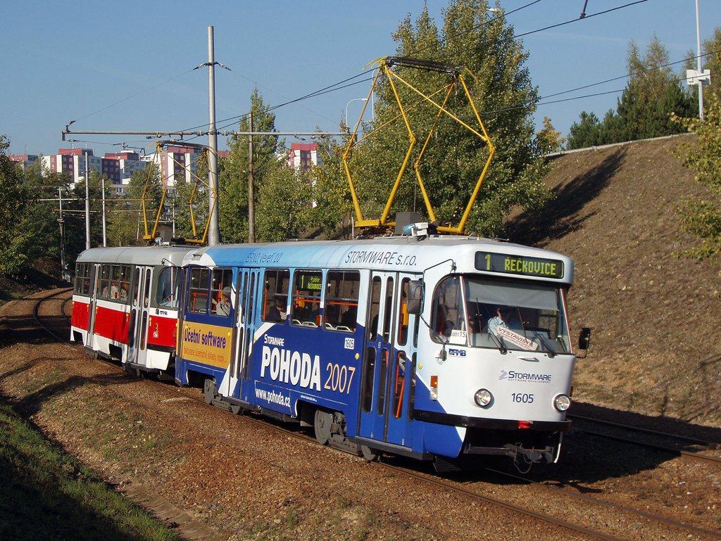Fotogalerie » ČKD Tatra T3G 1605 | ČKD Tatra T3G 1617 | Brno | Bystrc