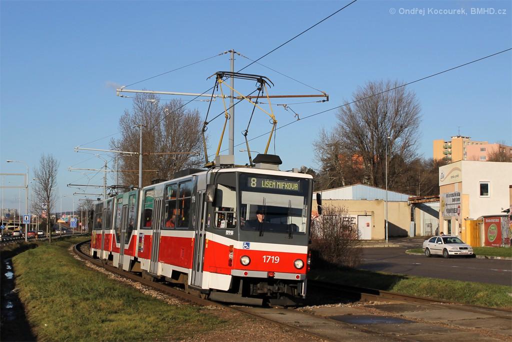Fotogalerie » ČKD Tatra KT8D5R.N2 1719 | Brno | Juliánov | Ostravská