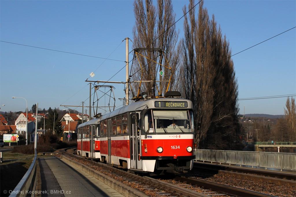Fotogalerie » ČKD Tatra T3G 1634 | ČKD Tatra T3G 1616 | Brno | Bystrc | Kníničská