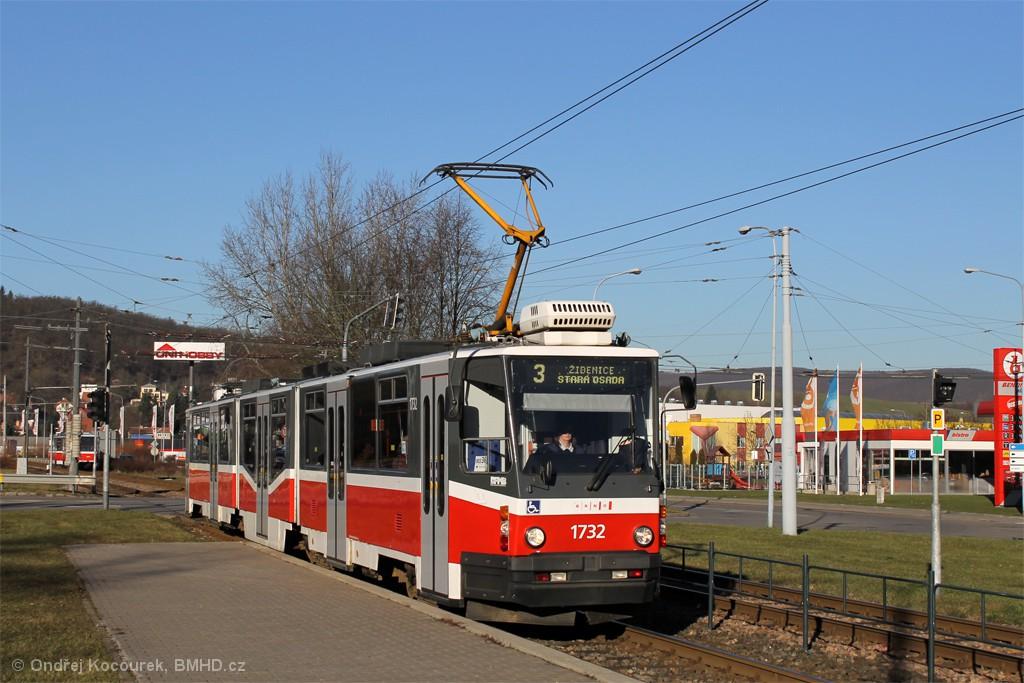 Fotogalerie » ČKD Tatra KT8D5N 1732 | Brno | Komín | Kníničská | Kamenolom