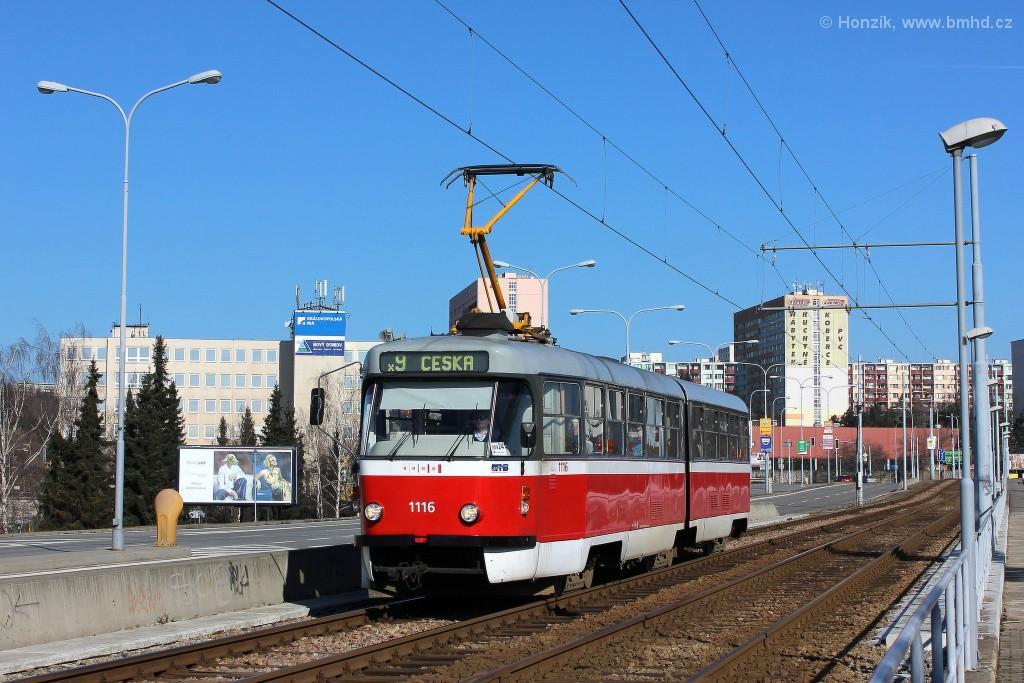 Fotogalerie » ČKD Tatra K2P 1116 | Brno | Černá Pole | třída Generála Píky