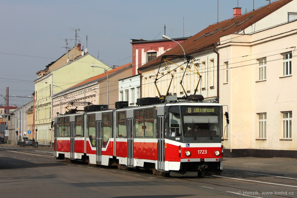 Fotogalerie » ČKD Tatra KT8D5R.N2 1723 | Brno | Černovice | Olomoucká