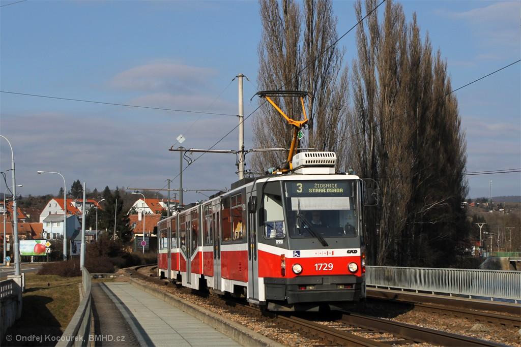 Fotogalerie » ČKD Tatra KT8D5N 1729 | Brno | Bystrc | Kníničská