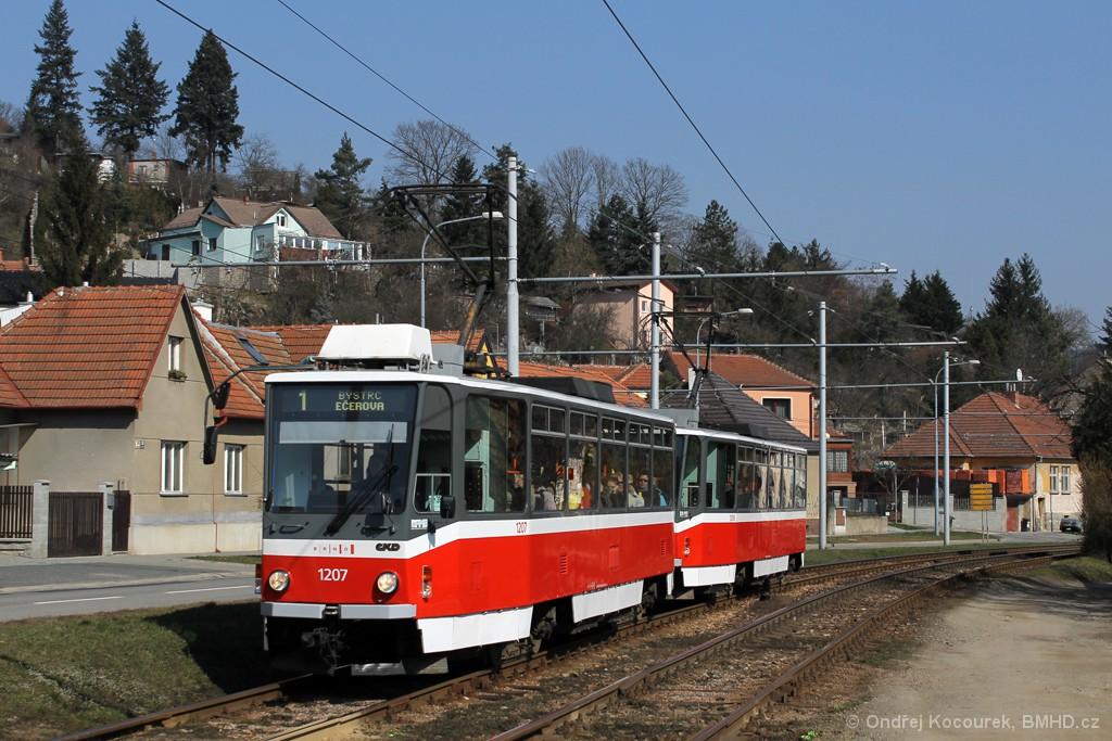 Fotogalerie » ČKD DS T6A5 1207 | ČKD DS T6A5 1208 | Brno | Komín | Kníničská