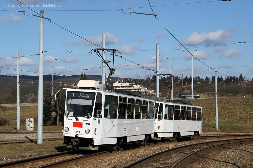 Fotogalerie » ČKD DS T6A5 1217 | ČKD DS T6A5 1218 | Brno | Bystrc