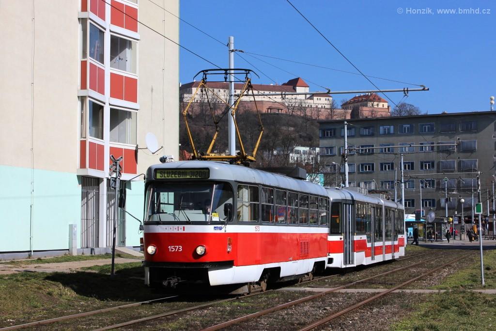 Fotogalerie » ČKD Tatra T3M 1573 | Pragoimex VarioLF2R.E 1088 | Brno | Staré Brno | Veletržní