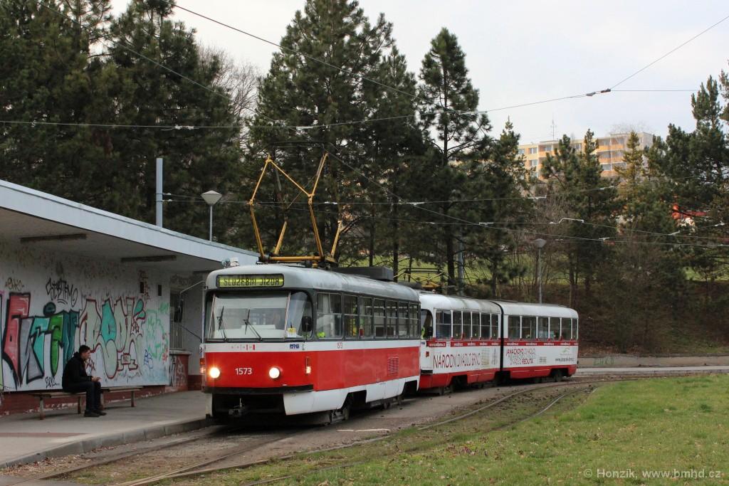 Fotogalerie » ČKD Tatra T3M 1573 | ČKD Tatra K2 1131 | Brno | Lesná | Lesná, Čertova rokle