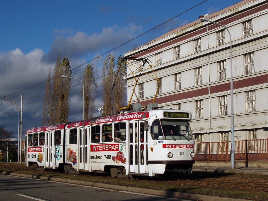 Fotogalerie » ČKD Tatra K2YU 1127   Brno   Černá Pole   třída Generála Píky