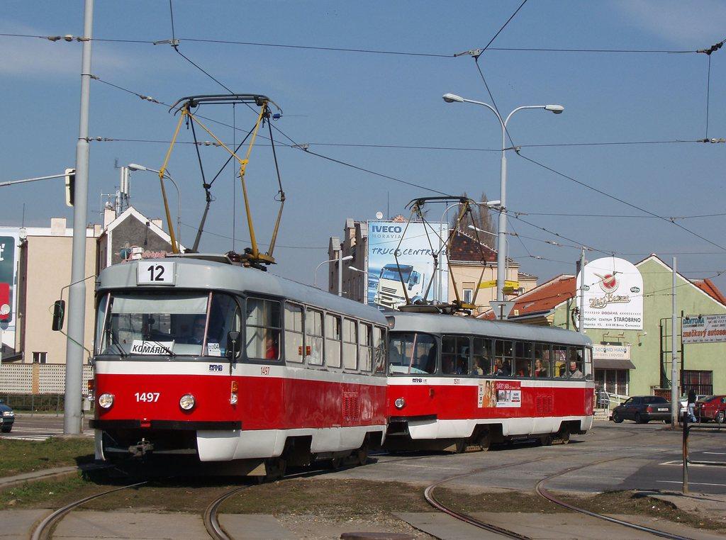 Fotogalerie » ČKD Tatra T3 1497 | ČKD Tatra T3 1511 | Brno | Komárov | Svatopetrská