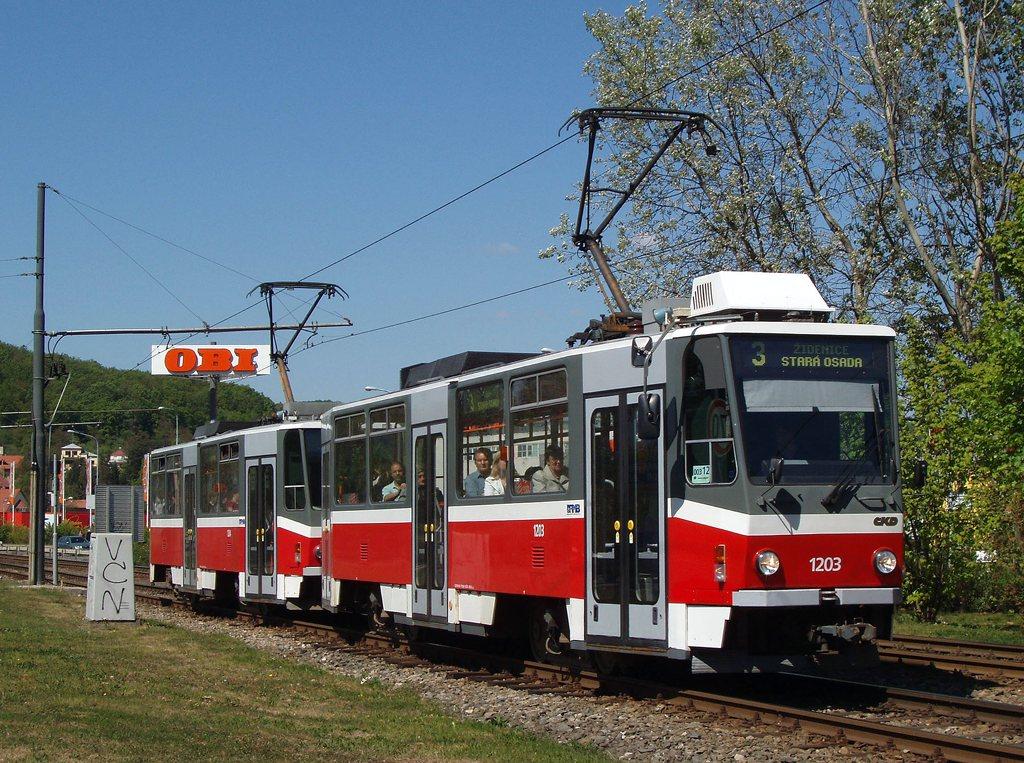 Fotogalerie » ČKD DS T6A5 1203 | ČKD DS T6A5 1204 | Brno | Komín | Kníničská