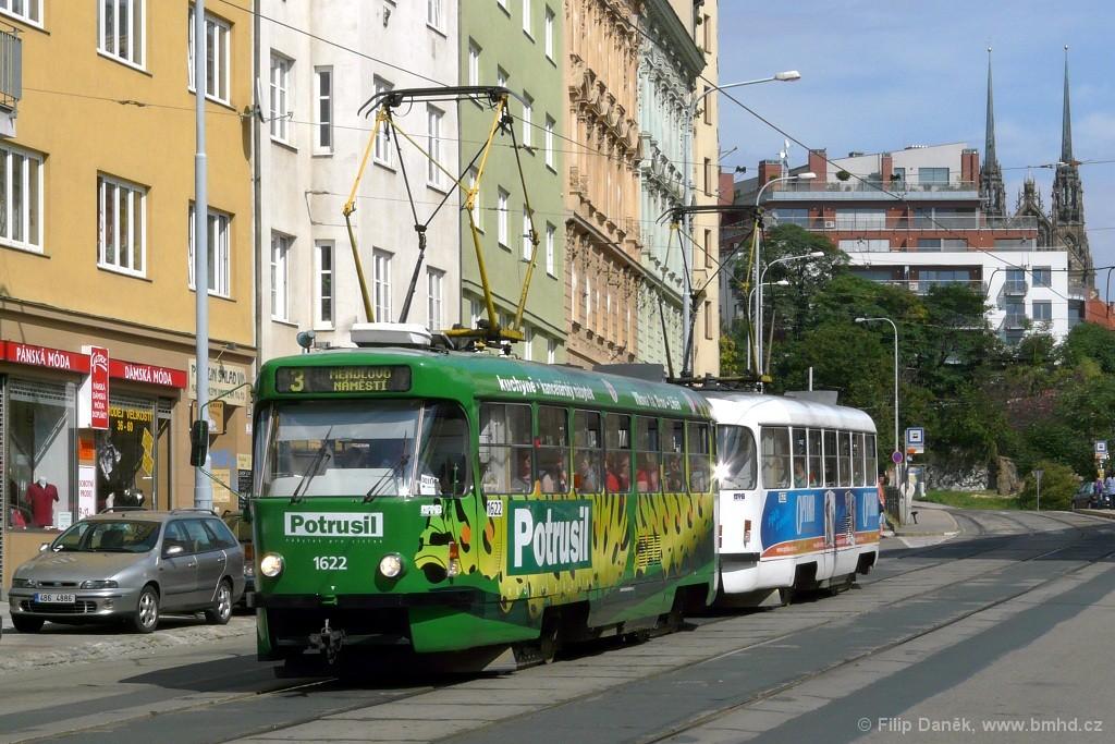 Fotogalerie » ČKD Tatra T3P 1622 | ČKD Tatra T3P 1623 | Brno | Staré Brno | Pekařská