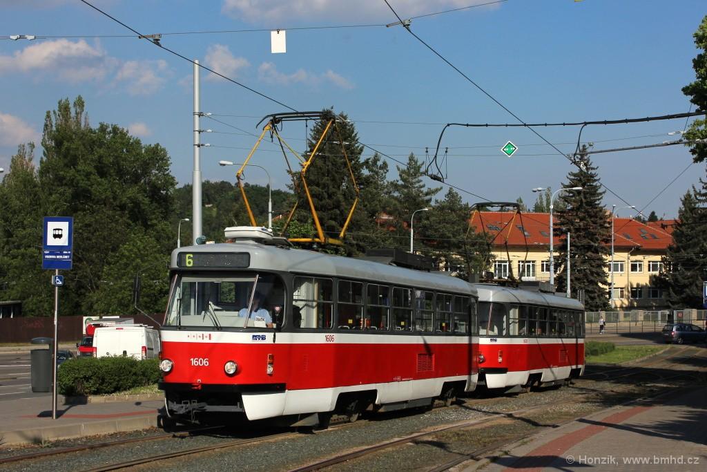 Fotogalerie » ČKD Tatra T3G 1606 | ČKD Tatra T3G 1608 | Brno | Medlánky | Hudcova
