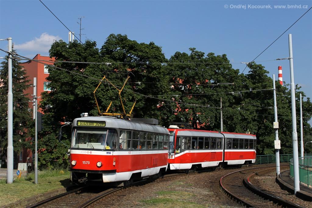 Fotogalerie » ČKD Tatra T3M 1573 | ČKD Tatra K2R 1039 | Brno | Pisárky | Hlinky