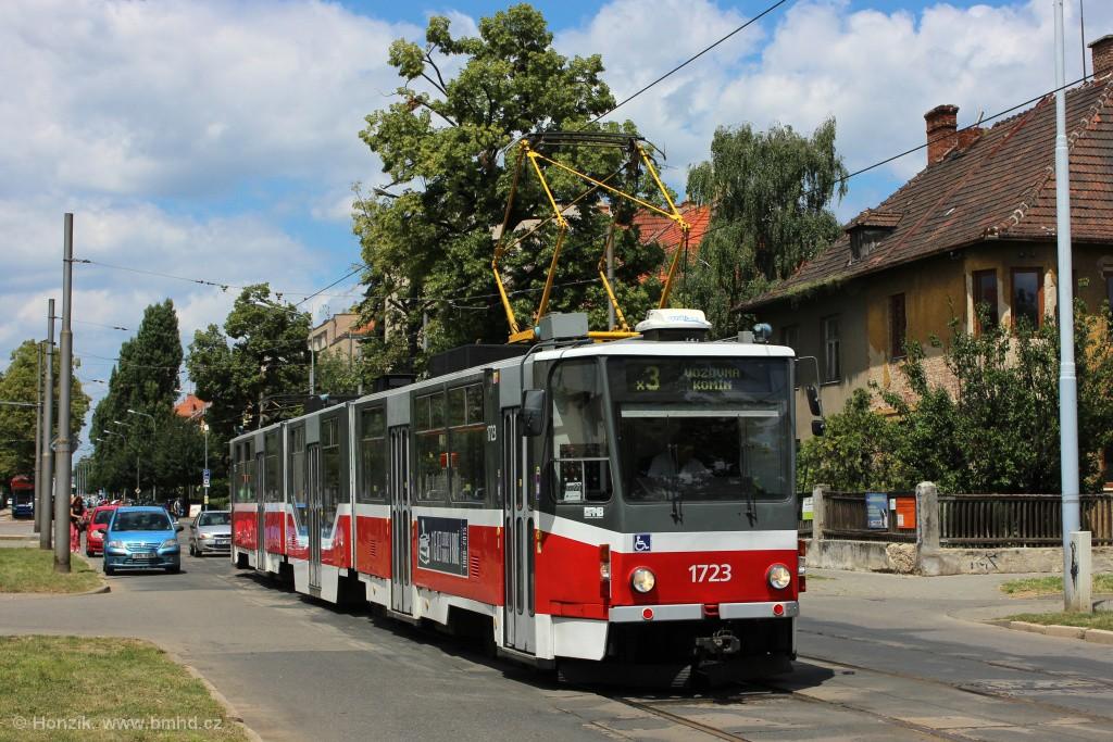 Fotogalerie » ČKD Tatra KT8D5R.N2 1723 | Brno | Černá Pole | Lesnická