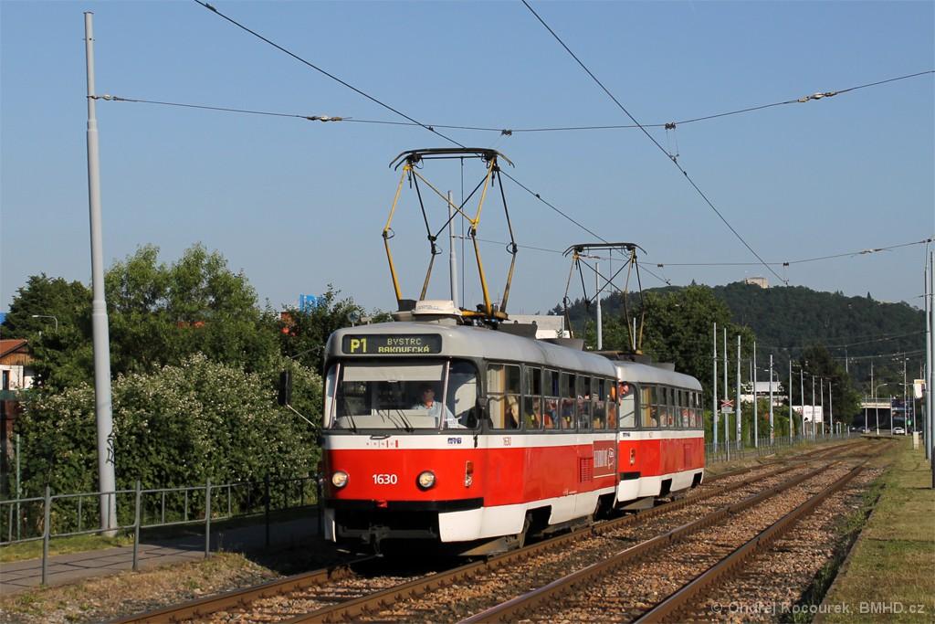 Fotogalerie » ČKD Tatra T3T 1630 | ČKD Tatra T3T 1627 | Brno | Komín | Kníničská