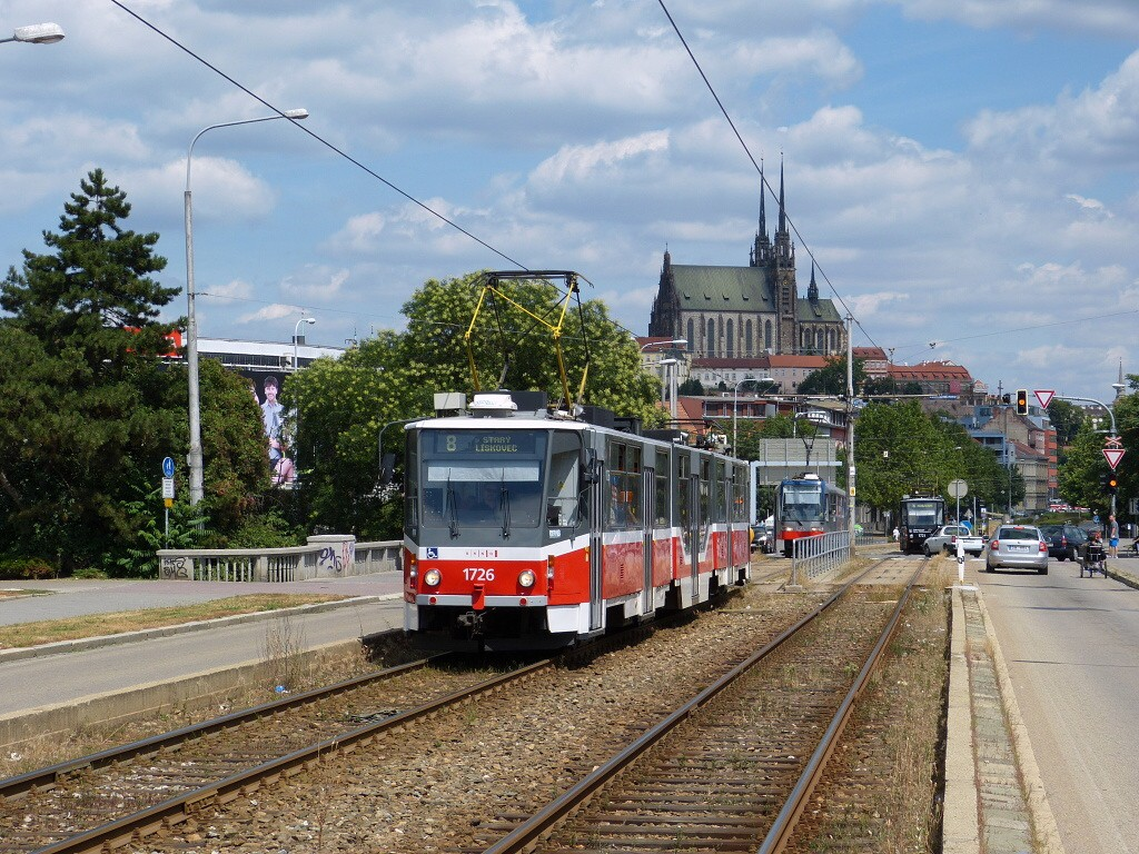 Fotogalerie » ČKD Tatra KT8D5R.N2 1726 | Brno | Štýřice | Renneská třída
