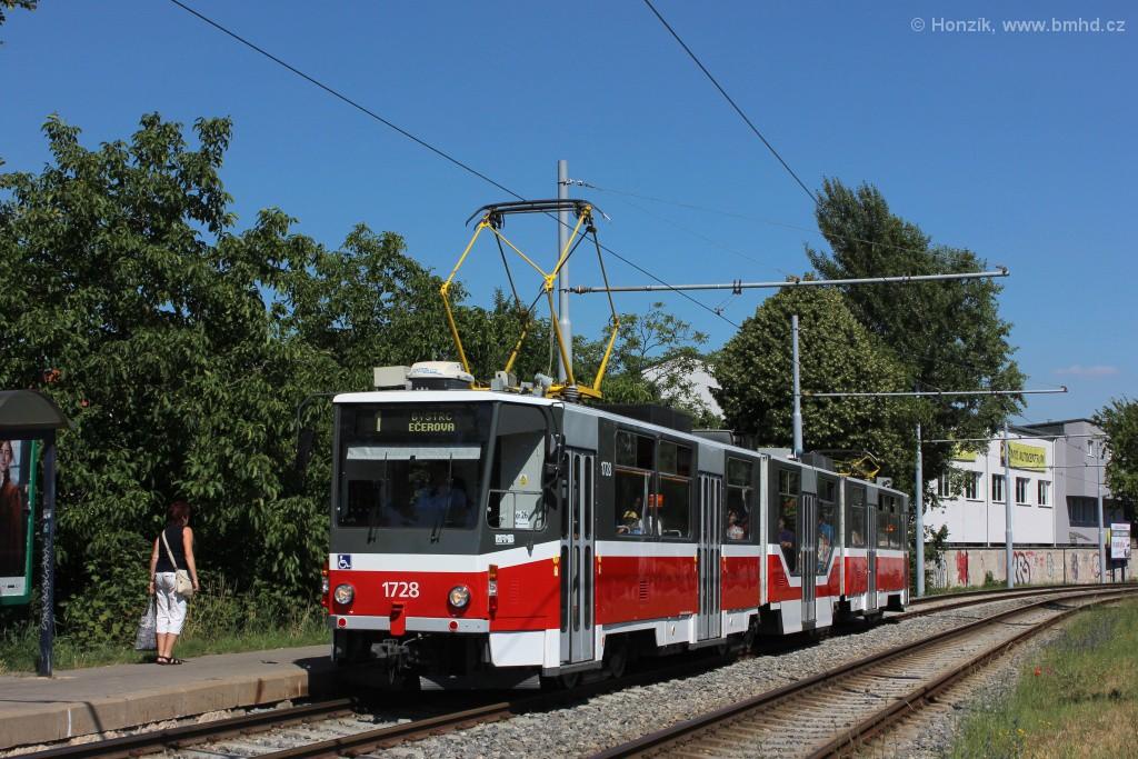 Fotogalerie » ČKD Tatra KT8D5R.N2 1728 | Brno | Žabovřesky | Kníničská | Stránského