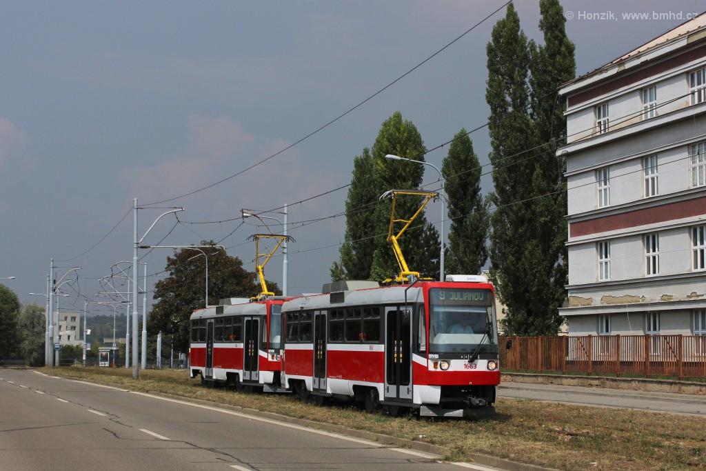Fotogalerie » ČKD DS T3R 1663 | ČKD DS T3R 1664 | Brno | Černá Pole | třída Generála Píky