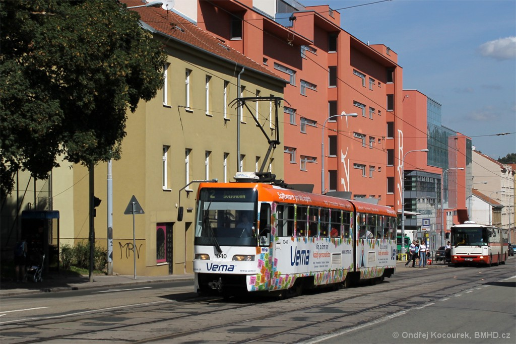Fotogalerie » ČKD Tatra K2R03-P 1040 | Brno | Štýřice | Vídeňská