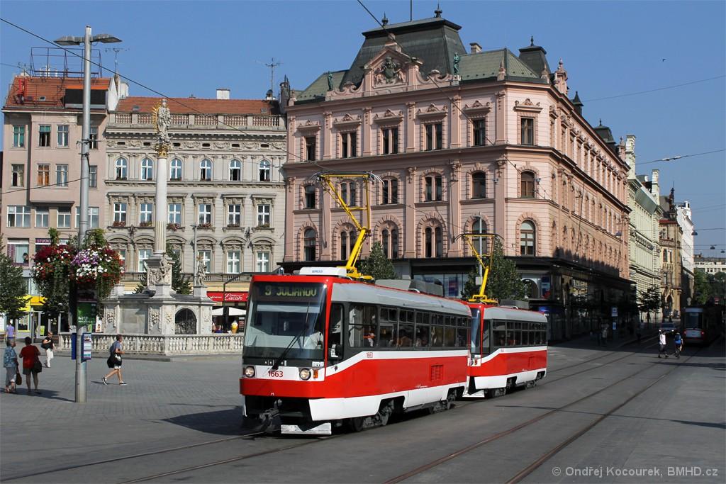 Fotogalerie » ČKD DS T3R 1663 | ČKD DS T3R 1664 | Brno | střed | náměstí Svobody
