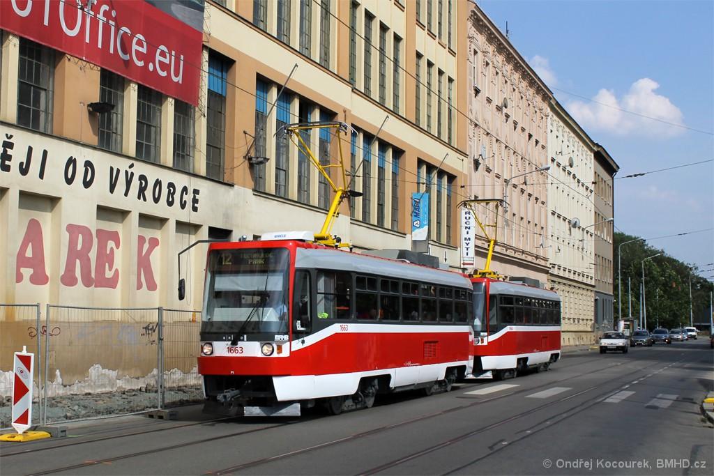 Fotogalerie » ČKD DS T3R 1663 | ČKD DS T3R 1664 | Brno | Trnitá | Dornych